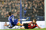 Diego Costa of Chelsea misses a chance to score. Barclays Premier league match, Chelsea v AFC Bournemouth at Stamford Bridge in London on Saturday 5th December 2015.<br /> pic by John Patrick Fletcher, Andrew Orchard sports photography.