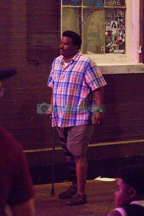 EXCLUSIVE: Kate Hudson and Craig Robinson film 'Mona Lisa and the Blood Moon' at The Panty Drop Gentleman's Club on Bourbon Street in the French Quarter. Kate was seen exiting a taxi and walking through a crowd of people on Bourbon St.while Craig was seen wearing a leg cast and using a cane. 09 Jul 2019 Pictured: Craig Robinson. Photo credit: MEGA TheMegaAgency.com +1 888 505 6342