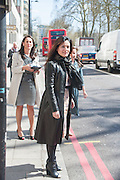 TEENA STOTT ( LEATHER COAT ), Leaving The Seventh Annual Foreign Sisters Lunch in aid of Cancer Research UK. . The Dorchester 53 Park Lane. London. 1 May 2013.