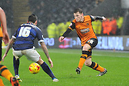 Hull City defender Andrew Robertson crosses ball  during the Sky Bet Championship match between Hull City and Bolton Wanderers at the KC Stadium, Kingston upon Hull, England on 12 December 2015. Photo by Ian Lyall.