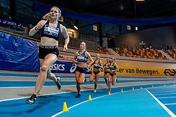 Melissa de Haan, Nadine Broersen, Anne van de Wiel, Sarah van Beilen in action on 1000 meters during the Dutch Athletics Championships on 14 February 2021 in Apeldoorn