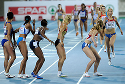 01-08-2010 ATLETIEK: EUROPEAN ATHLETICS CHAMPIONSHIPS: BARCELONA<br /> RUSSIA (RUS) - Winner WL 4x400m Relay Women / USTALOVA, Kseniya<br /> ©2010-WWW.FOTOHOOGENDOORN.NL