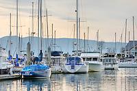 Yachts and sailboats moored at Squalicom Marina on Bellingham Bay, Bellingham Washington USA