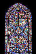Medieval stained glass Window of the Gothic Cathedral of Chartres, France - dedicated to the Life of St Mary Magdalen. A UNESCO World Heritage Site. .<br /> <br /> Visit our MEDIEVAL ART PHOTO COLLECTIONS for more   photos  to download or buy as prints https://funkystock.photoshelter.com/gallery-collection/Medieval-Middle-Ages-Art-Artefacts-Antiquities-Pictures-Images-of/C0000YpKXiAHnG2k