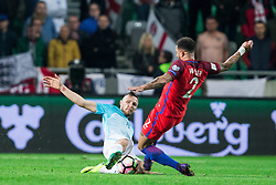 Jasmin Kurtic of Slovenia vs Kyle Walker of England during football match between National teams of Slovenia and England in Round #3 of FIFA World Cup Russia 2018 Qualifier Group F, on October 11, 2016 in SRC Stozice, Ljubljana, Slovenia. Photo by Vid Ponikvar / Sportida