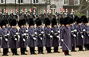 Guard of Honour parade of Guardsmen soldiers on Horseguards Parade in London
