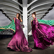 Models L to R : Aleezay Rasul and Nimra Khan wearing couture by Syed Qazzafi. Braving an icy wind to stand on the Bells Bridge by the River Clyde in Glasgow ahead of the Pakistan Fashion Glasgow: East meets West this weekend at Glasgow's Crowne Plaza Hotel.<br /> Picture Robert Perry 16th March 2018<br /> <br /> Must credit photo to Robert Perry<br /> FEE PAYABLE FOR REPRO USE<br /> FEE PAYABLE FOR ALL INTERNET USE<br /> www.robertperry.co.uk<br /> NB -This image is not to be distributed without the prior consent of the copyright holder.<br /> in using this image you agree to abide by terms and conditions as stated in this caption.<br /> All monies payable to Robert Perry<br /> <br /> (PLEASE DO NOT REMOVE THIS CAPTION)<br /> This image is intended for Editorial use (e.g. news). Any commercial or promotional use requires additional clearance. <br /> Copyright 2014 All rights protected.<br /> first use only<br /> contact details<br /> Robert Perry     <br /> 07702 631 477<br /> robertperryphotos@gmail.com<br /> no internet usage without prior consent.         <br /> Robert Perry reserves the right to pursue unauthorised use of this image . If you violate my intellectual property you may be liable for  damages, loss of income, and profits you derive from the use of this image.