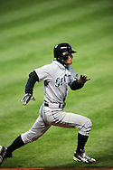 The Seattle Mariners defeated the Cleveland Indians 7-2 on April 29, 2008 at Progressive Field in Cleveland..Ichiro Suzuki runs to first base on an infield single.