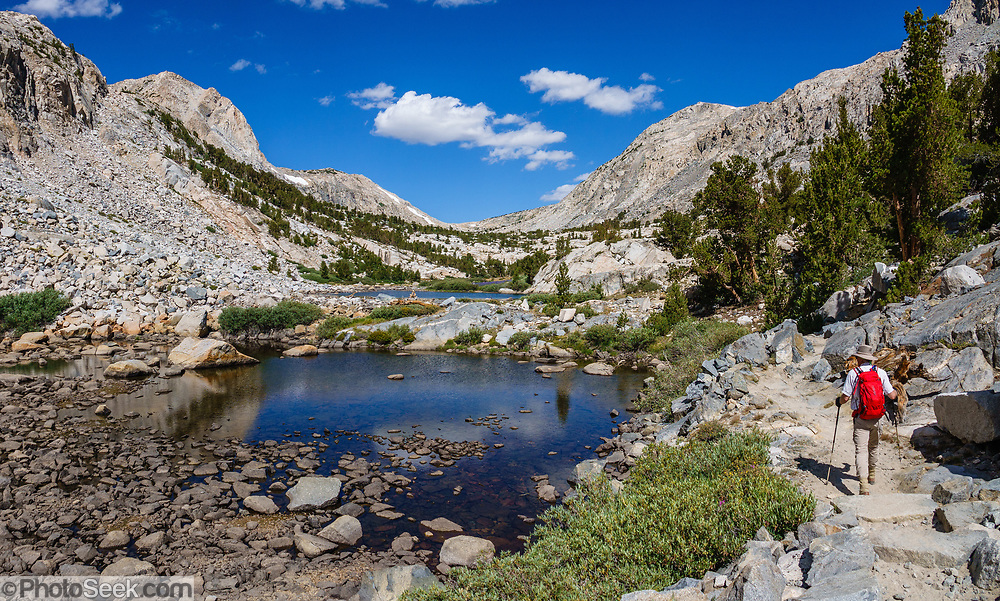 Hike to Piute Pass Trail via ponds and lakes (9.7 miles, 2200 ft gain) in John Muir Wilderness, Inyo National Forest, Mono County, California, USA. Multiple overlapping photos were stitched to make this panorama.