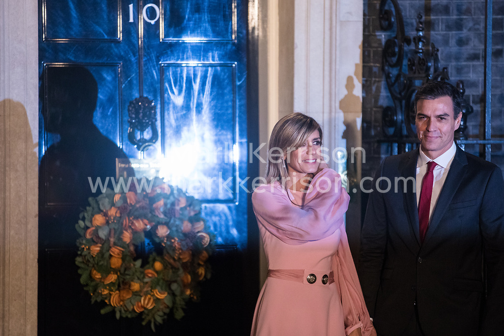 London, UK. 3 December, 2019. Pedro Sanchez, Prime Minister of Spain, arrives with his wife María Begoña Gómez for a reception for NATO leaders at 10 Downing Street on the eve of the military alliance's 70th anniversary summit at a luxury hotel near Watford.
