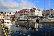 Sailing yachts and historic buildings, Vågen harbour, Bergen, Norway