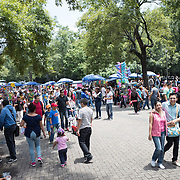 Market stalls in Basque de Chapultepec, a large and popular public park in the center of Mexico City.