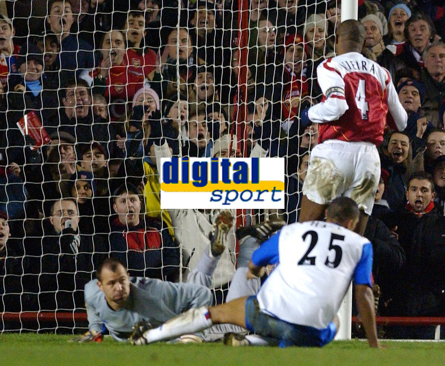 Photo: Daniel Hambury, Digitalsport<br /> Arsenal V Crystal Palace.<br /> FA Barclays Premiership.<br /> 14/02/2005.<br /> Palace's 'keeper Gabor Kiraly can only look as Arsenal captain Patrick Vieira walks in his sides fourth goal.