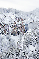 waterfall in winter near White Pass in the Cascade Range - Wenatchee National Forest, Washington, USA