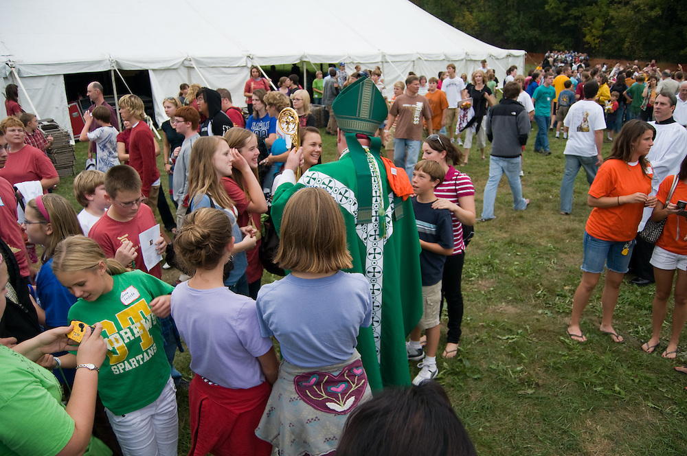 Archbishop Dolan greets attendees at the St. John Bosco Youth Rally on September 27, 2008 at Holy Hill in Hubertus, Wisconsin