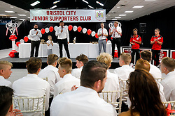 Bristol City first team players Bobby Reid and Joe Bryan attend the Bristol City Junior Supporters Club Presentation Evening in the Dolman Concourse at Ashton Gate - Mandatory byline: Rogan Thomson/JMP - 02/07/2016 - FOOTBALL - Ashton Gate Stadium - Bristol, England.
