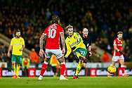 Norwich City midfielder James Maddison (23) plays a pass during the EFL Sky Bet Championship match between Norwich City and Barnsley at Carrow Road, Norwich, England on 18 November 2017. Photo by Phil Chaplin.