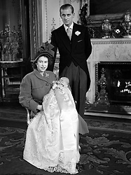 File photo dated 01/12/48 of The Duke of Edinburgh with Queen Elizabeth II holding Prince Charles in his christening gown. The Duke of Edinburgh has died, Buckingham Palace has announced. Issue date: Friday April 9, 2020.. See PA story DEATH Philip. Photo credit should read: PA Wire