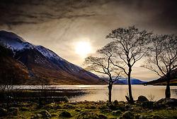 Weak winter sunshine on Loch Etive at the end of Glen Etive, Scotland in winter<br /> <br /> (c) Andrew Wilson | Edinburgh Elite media