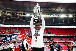 Free to use courtesy of Sky Bet. Ryan Sessegnon holds up the trophy as Fulham celebrate winning the game 0-1 to win the Sky Bet Championship Play-Off Final and secure Promotion to the Premier League - Rogan/JMP - 26/05/2018 - FOOTBALL - Wembley Stadium - London, England - Aston Villa v Fulham - Sky Bet Championship Play-Off Final.
