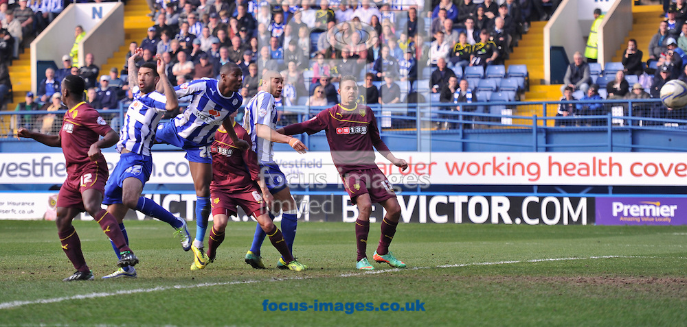 Benik Afobe of Sheffield Wednesday scores with a header to make it 4-1 during the Sky Bet Championship match at Hillsborough, Sheffield<br /> Picture by Richard Land/Focus Images Ltd +44 7713 507003<br /> 29/03/2014