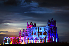 UK - Whitby Abbey Gothic Architecture Illuminated - 27 Oct 2016