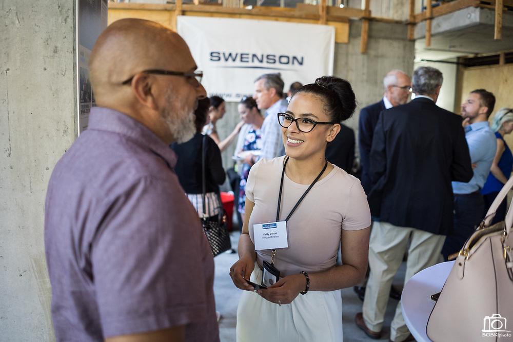 Katty Cortez of Verizon Wireless networks during SVBJ's BizMix presented by SWENSON at The Grad in Downtown San Jose, California, on July 31, 2019. (Stan Olszewski for Silicon Valley Business Journal)