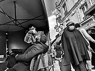 Paris 18em Chateau rouge, street sellers. Biffins. pedestrians with covid mask  during Covid 19 pandemic.