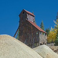 """The Yankeet Girl Mine, near Silverton, Colorado, used this """"hoist house"""" to lift miners and gold and silver ore. from its deep vertical shaft"""