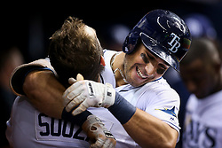 August 23, 2017 - St. Petersburg, Florida, U.S. - WILL VRAGOVIC       Times.Tampa Bay Rays center fielder Kevin Kiermaier (39) hugs right fielder Steven Souza Jr. (20) in the dugout after his solo home run in the fifth inning of the game between the Toronto Blue Jays and the Tampa Bay Rays at Tropicana Field in St. Petersburg, Fla. on Wednesday, Aug. 23, 2017. (Credit Image: © Will Vragovic/Tampa Bay Times via ZUMA Wire)