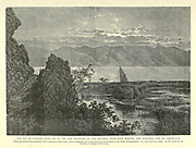 Engraving on Wood of The Sea of Galilee from 'Ain et Tin, the Fountain of the Fig-tree, near Khan Minyeh, the supposed site of Capernaum from Picturesque Palestine, Sinai and Egypt by Wilson, Charles William, Sir, 1836-1905; Lane-Poole, Stanley, 1854-1931 Volume 2. Published in New York by D. Appleton in 1881-1884