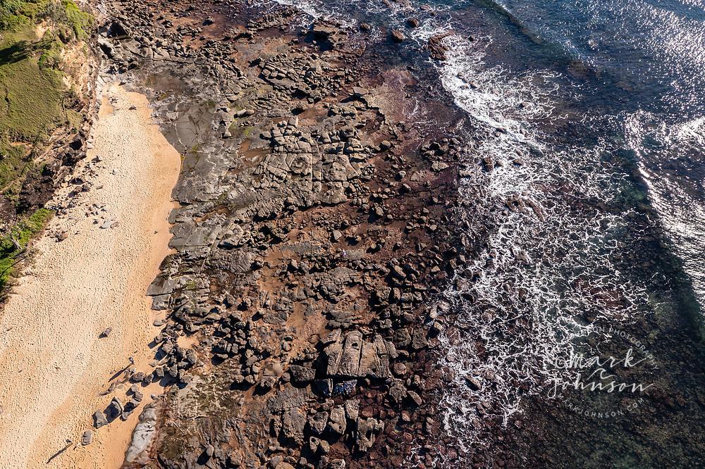 Aerial view of Shelly Beach and rocky coast at Moffat Head, Caloundra, Sunshine Coast, Queensland, Australia