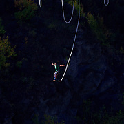 A bungy jumper jumps from The AJ Hackett Kawarau Bridge Bungy Jump, Queenstown New Zealand. The Kawarau Bridge Bungy jump was the World's first Commercial bungy Jump and opened in 1988. The 43m jump attracts tens of thousands of bungy jumpers each year. Queenstown, Central Otago, South Island, New Zealand. 30th March 2011. Photo Tim Clayton..