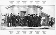 the Union officers present at the conference and  the signing of Lee's surrender, from the book ' The Civil war through the camera ' hundreds of vivid photographs actually taken in Civil war times, sixteen reproductions in color of famous war paintings. The new text history by Henry W. Elson. A. complete illustrated history of the Civil war