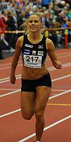 NM Friidrett Innendørs 12-13 februar 2011<br /> Ranheim Friidrettshall, Trondheim<br /> <br /> Petter Northugs kjæreste Rachel Nordtømme, fra Steinkjer Friidrettsklubb, løper 400 m<br /> <br /> Foto : Arve Johnsen, Digitalsport
