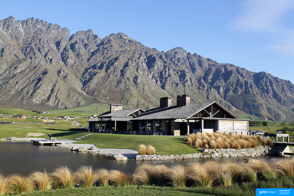 The Club House Jack's Point Golf Course. Jack's Point Golf Course, Queenstown New Zealand is considered one of the top 100 golf courses in the world. Set within a 3,000 acre nature preserve on the shores of Lake Wakatipu, Jacks Point has sweeping lake and alpine vistas with a 360-degree mountain scape. The course is bounded by the Remarkables mountain range and Lake Wakatipu. Queenstown, Otago, New Zealand. 26th November 2011. Photo Tim Clayton
