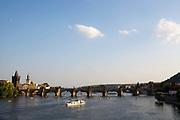 River and Charles Bridge, vltava river,  Prague, Czech Republic.