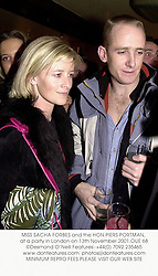 MISS SACHA FORBES and the HON.PIERS PORTMAN, at a party in London on 13th November 2001.OUE 68