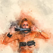 Digitally enhanced image of a female model with a duct taped mouth