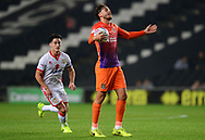 Matt Crooks of Northampton Town holds the ball and complains to the referee .EFL Skybet football league one match, MK Dons v Northampton Town at the Stadium MK in Milton Keynes on Tuesday 26th September 2017.<br /> pic by Bradley Collyer, Andrew Orchard sports photography.