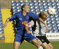 Photo. Aidan Ellis.Digitalsport<br /> Stockport County v Luton Town.<br /> Coca-Cola League Division 1.<br /> 18/09/2004.<br /> stockport's Rickie lambert and Luton's Paul Underwood in action