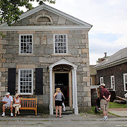 The Mystic Bank on the historic waterfront at Mystic seaport. Mystic, Connecticut. 21st July 2013. Photo Tim Clayton