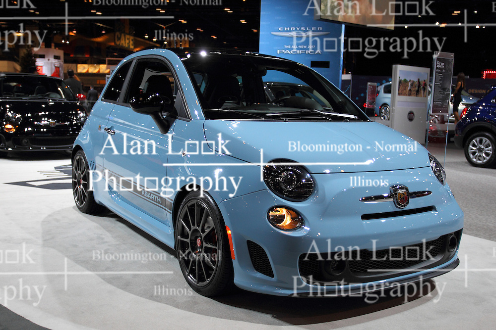11 February 2016: 2016 Fiat 500 Abarth<br /> <br /> First staged in 1901, the Chicago Auto Show is the largest auto show in North America and has been held more times than any other auto exposition on the continent.  It has been  presented by the Chicago Automobile Trade Association (CATA) since 1935.  It is held at McCormick Place, Chicago Illinois<br /> #CAS16  #ABARTH