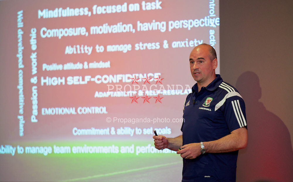 CHEPSTOW, WALES - Saturday, May 24, 2014: Dr Ian Mitchell psychologist gives a presentation during the Football Association of Wales' National Coaches Conference 2014 at the St. Pierre Marriott Hotel & Country Club. (Pic by David Rawcliffe/Propaganda)