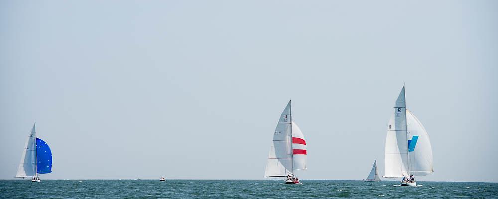 Columbia, American Eagle and Weatherly sailing at the Nantucker 12 Metre Regatta.