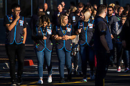 Walmart employees walk outside as they gather for the official reopening of the Cielo Vista Walmart, where the Aug. 3 mass shooting took place, in El Paso, Texas, Thursday, November 14, 2019. The store was closed for months as authorities conducted their investigation and as Walmart conducted a remodeling of the store's layout.<br /> <br /> The suspect accused of the shooting is currently in custody at Downtown El Paso County Jail awaiting trial. In federal court, he faces 23 counts of hate crimes resulting in death, 23 counts of use of a firearm to commit murder during and in relation to a crime of violence, 22 counts of hate crimes involving an attempt to kill and 22 counts of use of a firearm during and in relation to a crime of violence. In state court, he faces one count of capital murder of multiple persons and 22 counts of aggravated assault with a deadly weapon.