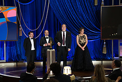 Nicolas Becker (screen), Jaime Baksht (L), Michelle Couttolenc, Carlos Cortés and Phillip Bladh accept the Oscar® for Sound during the live ABC Telecast of The 93rd Oscars® at Union Station in Los Angeles, CA, USA on Sunday, April 25, 2021. Photo by Todd Wawrychuk/A.M.P.A.S. via ABACAPRESS.COM