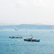 Ferries with the Bosphorus bridge on the background