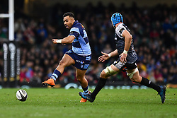 27th April 2019 , Principality Stadium , Cardiff, Wales ; Guinness pro 14's, Round 21, Cardiff Blues Vs Ospreys ; Willis Halaholo of Cardiff Blues kick ahead<br /> <br /> Credit :  Craig Thomas/Replay Images