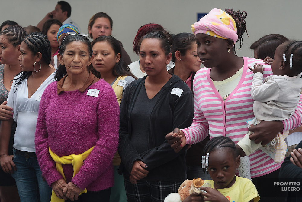 """Central American migrants participate in a meeting in the Mexican Senate after arriving to Mexico City on April 24th, 2014. Migrants have to make deadly, irregular and clandestine travels hidden in the wagons and gonads of the train through Mexico during weeks to arrive to the U.S.  The train is nicknamed """"La Bestia"""" (The Beast) due to its dangerousness.<br /> <br /> Each Holly Week, along with Mexican human rights activists, make religious and protest activities during the """"Viacrucis del migrante"""". <br /> <br /> This year, they walk on foot, since the evening of Thursday April 17th, after the train where they travel, under Ferrocarriles del Istmo enterprise orders, unhooked the gonads with people and left them abandoned in Tenosique. After being left, they made the decision to continue their way on foot. <br /> <br /> They have traveled on foot more than 100 km (328 000 ft) from Tenosique, Tabasco demanding an end to the violence against migrants and free transit through Mexico. (Photo credit: Prometeo Lucero)"""